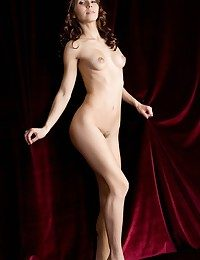 Erotic presenting of young and fresh maiden baring lush, indiscriminate assets.