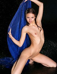 Wet with an increment of drenched Krissta with ever-erect nipples due to the splashing water on her body.
