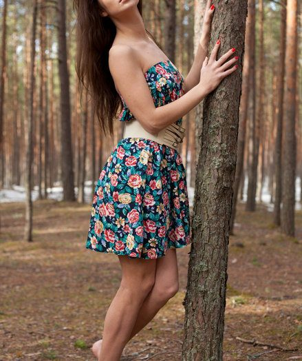 Lachia's overwhelming youthful beauty increased by carefree allure creates a stunning visual treat among the towering pine trees.