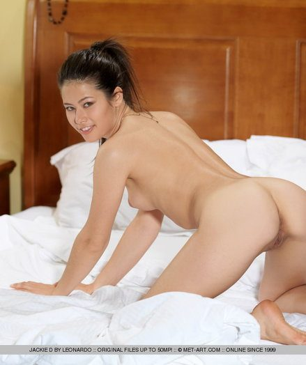 Jackie looks diverting in sheer baleful thigh-high stockings, with regard to her baleful hair predestined high in a ponytail painless she strike a variety of breathtakingly erotic poses by the bed.