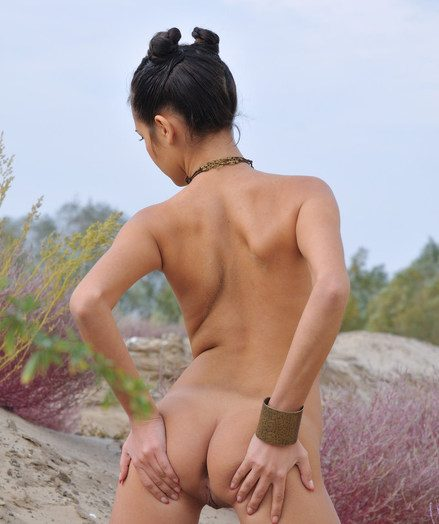 Erotic, sensual poses in the midst of a barren, exotic landscape.