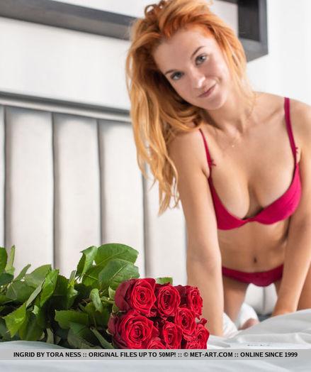Ingrid nude in glamour Crimson LINGERIE gallery - MetArt.com