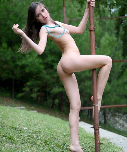 Small titted young beautiful brunette teen posing naked outdoor