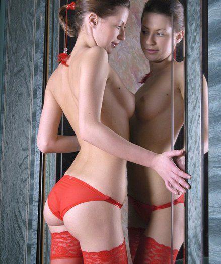 Dasha strips down to her stockings
